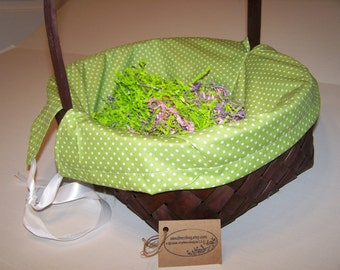 Personalized Basket Liner Green White Dots