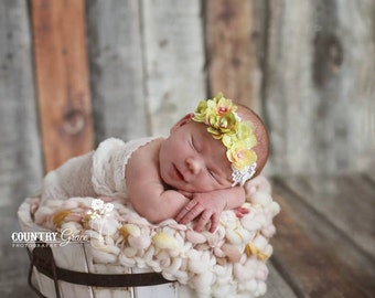 Flower Headband...Baby Girl Headband... Headband...Photography Prop... Baby Headband...Newborn Headband...Green Flower Headband
