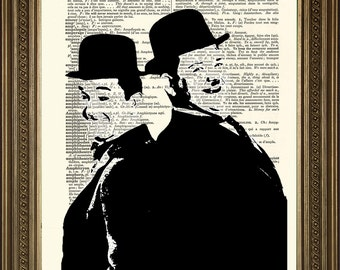 "LAUREL & HARDY: Vintage Dictionary Page Wall Art, Black and White Illustration Print (8 x 10"")"