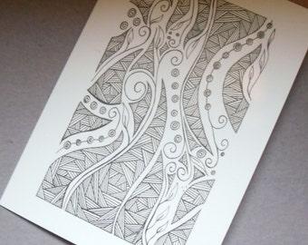 Abstract Art Card, Abstract Drawing, Greetings Card, Birthday Card, Note Card, Art Print