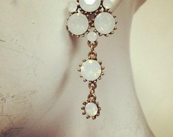 White opal cluster earrings