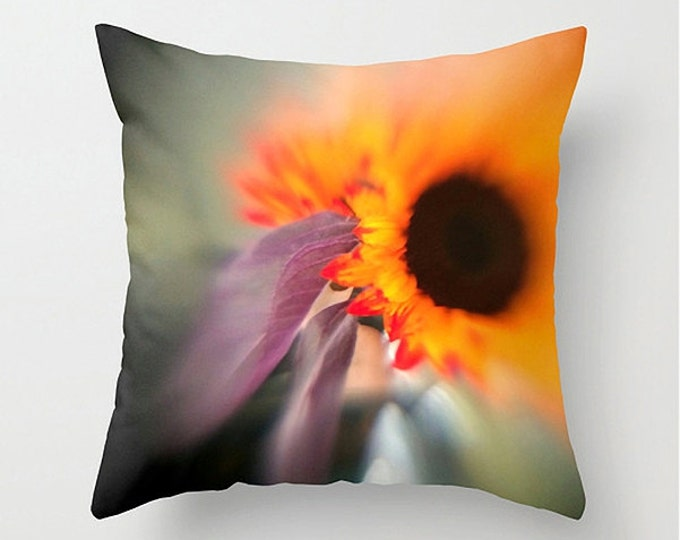 Dreamy Sunflower Sofa Pillow, Orange Purple Accent Pillow, Botanical Throw Pillow Cover, 18x18 22x22 Decorative Pillow Cushion