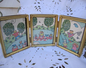 vintage trifold frames small hinged goldtone metal frames desktop size with glass floral corner detail wallet size photo frames