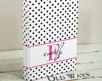 Teen Gift - Monogram Journal Personalized with Name - Hardcover Book, Custom Diary - Polka Dot Journal, Pink Black White - Gift for Girl