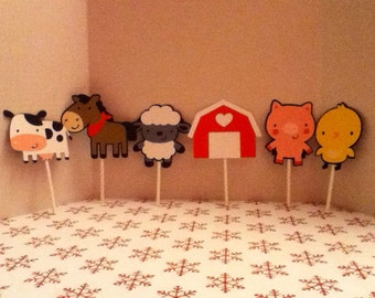 Cute Farm Animal Cupcake Toppers Set of 26
