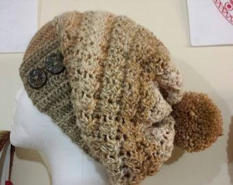 crochet ham crochet slouch crochet tam brown tan made in wales