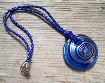 Swirled Glass Pendant Choker Necklace, Turquoise Cobalt Blue Swirl, Faux Leather Cord, Beach Jewelry, Nautical Necklace