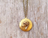Brass Dog Locket Necklace, Vintage Golden Raw Brass Pendant, Canine Jewelry, Animal Jewelry, Antiqued Brass Plated Chain Necklace