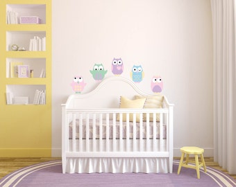 Kids set of 5 owls vinyl wall decal cute for a nursery or childs room or along a crib