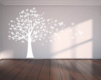 Modern Wall Tree Decal Blowing In The Wind Flying Leaves
