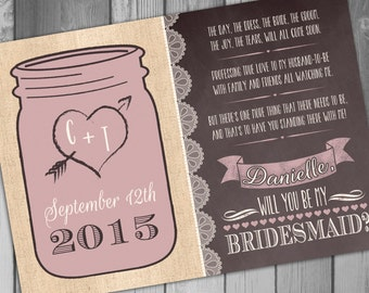 Will You Be My Bridesmaid Mason Jar Invitation Rustic Wedding Bridal Party Invitation Rustic Invitation Burlap Wedding Bridesmaid Card