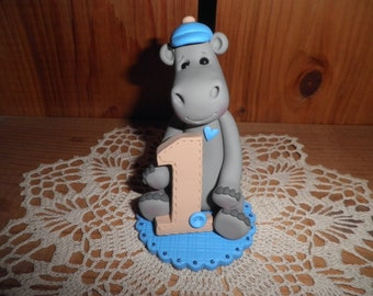 Polymer Clay Hippopotamus Personalized Baby Boy's First Birthday Cake Topper/Keepsake/Gift