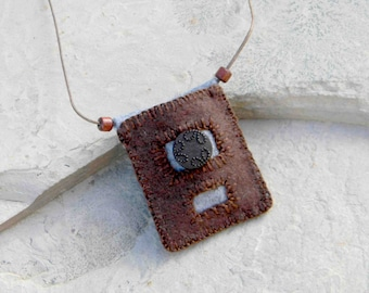 Worry Stone One - Textile Necklace / Worry Stone Carrier / Wearable Art