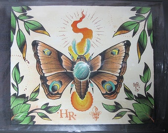 "Moth to a Flame Original Tattoo Watercolor Print 11.75"" x 9"" inchs"