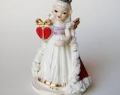 Vintage 50s Bone China Wales Spaghetti Ceramic Valentine's Day Queen of Hearts Ceramic Angel Figurine