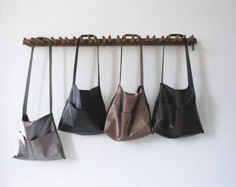 The Alma - Soft Leather Bag - Hand Sewn - Black, Dark Roast, Bronze or Gunmetal - Hobo or Crossbody