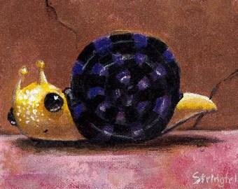 Mr Snail - animal art PRINT 5 x 7