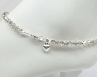 Gray Crystal Anklet Silver AB Crystal Ankle Bracelet Heart Anklet Silver Heart Anklet Bracelet 925 Sterling Silver Anklet BuyAny3+Get1 Free