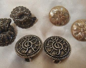 Lot of Silver Tone Clip Earrings Avon and BSK