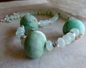 Large Matte Raw Stone Chrysoprase and Transluscent Prehnite Rondelles Artisan Statement Necklace and Earrings