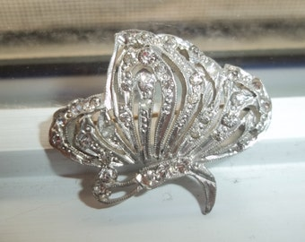 Silver and Rhinestone Butterfly Brooch
