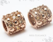 1pcs Champaign Cubic Zirconia Big Hole Bead Spacer Excellent Quality 24K Rose Gold Plated Jewelry Findings // 9mm x 9mm x 4mm