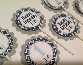 First Birthday Cupcake Toppers Navy Chevron Light Blue and Grey Winter Onederland Little Man Inspired Set of 12