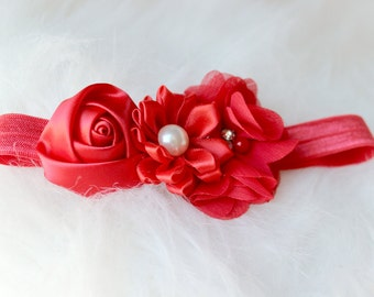 newborn baby photography prop-red elastic headband with flowers, baby shower gift,baby photo prop, 0-3 mo headband, photography prop