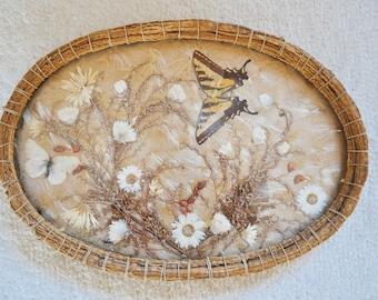 Vintage Pressed Butterfly Vanity Tray Dried Flowers Art Deco
