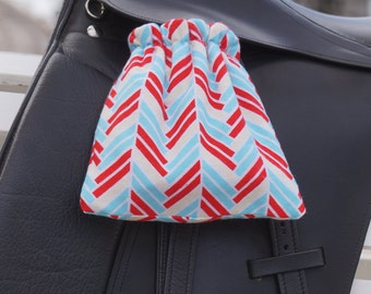 Ready to Ship - Red, Aqua, Yellow and White Chevron Reversible Stirrup Covers