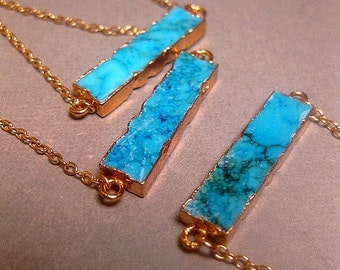 Turquoise Jewelry Howlite Bar Necklace - 24k Gold Electroplated Edging - Gold Filled Chain Optional - Custom Chain Length - Christmas Gift