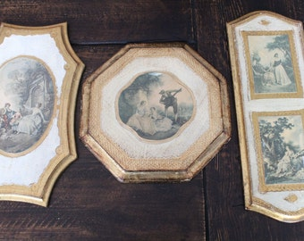 MIDCENTURY made in ITALY antique wood wooden wall plaque art renaissance images faux GOLD leaf