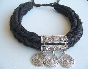 Black statement knit/macrame statement ethnic/bold collar black/ottoman knit necklace