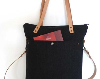 Black Canvas Foldover Tote Bag  -  Shoulder bag / Tote Bag / Diaper Bag /School bag