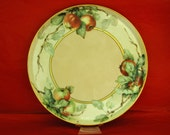"""Antique Vintage HAND PAINTED  APPLES On Porcelain Blanc, Artist Signed A. A. Encelke (sp?), 9 3/4"""" Di, Early Blanc Ca 1900 - Free Shipping !"""
