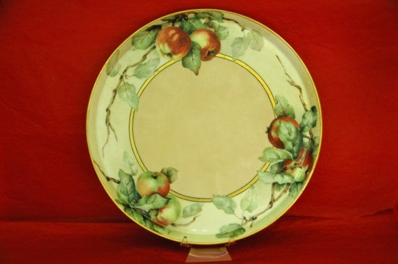 "Reduced Antique HAND PAINTED APPLES On Porcelain Blanc, Artist Signed 9 3/4"" Di Early Blanc Ca 1900 Great Hors D'oeuvre Tray Exc Condition!"