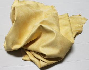 Italian Lambskin leather  hide skin pelt METALLIC GOLD DISTRESSED 6sqf