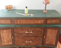 Vintage Bowed Stained Wood Dresser or Buffet with Carved Checkered detail.