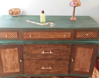 Vintage Bowed Stained Wood Buffet with Carved Checkered detail.