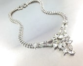 Dazzling Vintage Clear Rhinestone Necklace, Ice Austrian Crystals, Hi End Costume Jewelry Spectacular Wedding Necklace