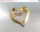 VALENTINES SALE Signed Monet Golden Heart brooch, Large, Shiny Jewelry Big Heart Mid Century Mod