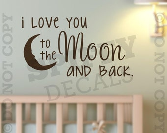 I Love You To The Moon And Back Vinyl Wall Decal Sticker Decor Baby Boy Girl Nursery Bedroom