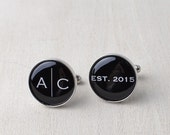 Wedding Year with Personalized Initial cufflinks / Mens silver accessories / modern day groom gifts