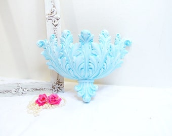 Hand Painted Sconce Ornate Shabby Wall Planter/Wall Pocket/Flower Vase/Robins Egg Blue Hand Painted