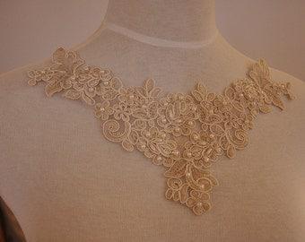 Champagne beaded alencon lace applique . pearl applique for bridal, wedding , jewelry or costume design