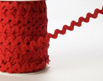 1/4 Inch Ric Rac Ribbon By the Yard Raspberry red doll trim