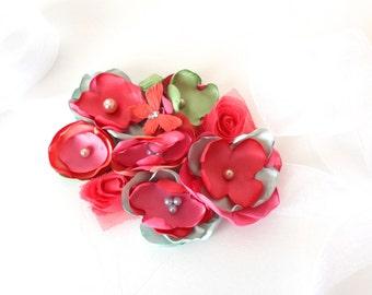Coral, Green and Pink Flower Sash for Maternity - Bridal Sash - Wedding Sash - Pregnancy Photo Prop - Baby Shower Sash
