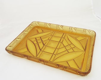 Vintage Dressing Table Tray, Amber Cut Glass Dressing Table Tray,  UK Seller
