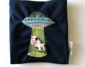 Alien Abducted Cow Small Pouch for Personal Items, in Navy Blue with Light Blue Lining