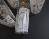 Anchor Hocking Drinking Glasses White and Gold Metallic American Gothic Butterprint Amish Set of 6